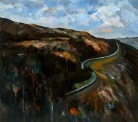 Peter Collis RHA (1929-2012) THE ROAD ABOVE LOUGH TAY, COUNTY WICKLOW oil on canvas signed lower