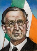 Harry Kernoff RHA (1900-1974) EAMON DE VALERA, 1957 pastel on buff coloured paper signed and dated