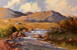 George K. Gillespie RUA (1924-1995) AASLEAGH FALLS, MAYO oil on canvas signed lower left 24 by 36in.