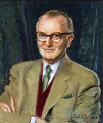 Seán O'Sullivan RHA (1906-1964) PORTRAIT OF SEÁN Ó FAOLÁIN, 1963 oil on board signed and dated lower