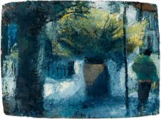 Donald Teskey RHA (b.1956) FIGURE AND YELLOW BUSH, 1999 oil on paper signed and dated lower right