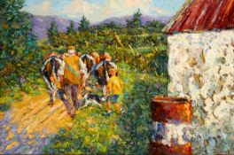 James S. Brohan (b.1952) FIGURES WITH CATTLE oil on canvas signed lower right 24 by 36in. (61 by