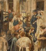 William Conor OBE RHA RUA ROI (1881-1968) WEDDING AT JOY STREET, BELFAST, c.1923 pastel signed upper