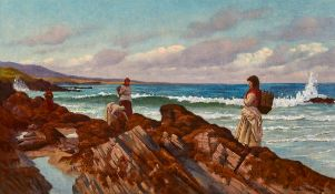Aloysius C. O'Kelly (1853-1936) WOMEN GATHERING KELP oil on canvas signed lower right 20 by 34in. (