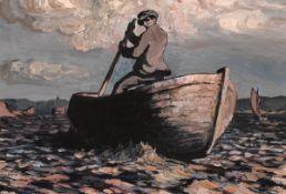 Jack Butler Yeats RHA (1871-1957) SCULLING, 1912 oil on panel signed lower left; with Daniel Egan