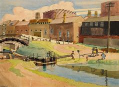 Harry Kernoff RHA (1900-1974) GRAND CANAL LOCK, DUBLIN, 1933 watercolour signed and dated lower