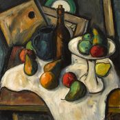 Peter Collis RHA (1929-2012) STILL LIFE WITH FRUIT, BOTTLE AND JUG oil on canvas signed lower right;