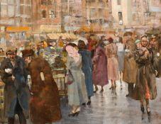 James le Jeune RHA (1910-1983) MOORE STREET, DUBLIN, c.1955 oil on canvas signed lower left 14 by
