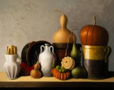 Stuart Morle (b.1960) STILL LIFE WITH TERRACOTTA OBJECTS AND GOURDS, 2020 oil on canvas laid on