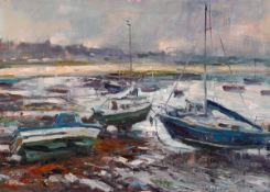 Norman Teeling (b.1944) HARBOUR SCENE oil on canvas signed lower right 20 by 27.50in. (50.8 by 69.