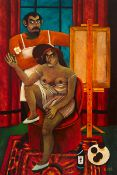 Graham Knuttel (b.1954) ARTIST AND HIS MODEL oil on canvas; (unframed) signed lower right 72 by
