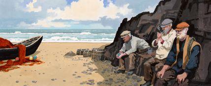 John Francis Skelton (b.1954) ARAN ISLAND BREAK, ARAN, COUNTY GALWAY oil on board signed lower