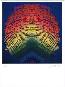 Patrick Scott HRHA (1921-2014) CHRISTMAS GREETING CARD, 2011 colour print; (no. 6 from an edition of