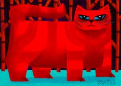 Graham Knuttel (b.1954) RED CAT oil on canvas signed lower right 9.45 by 14in. (24 by 35.6cm) 13.