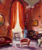 Norman Teeling (b.1944) INTERIOR WITH WOMAN BY A WINDOW oil on board signed lower left 24 by