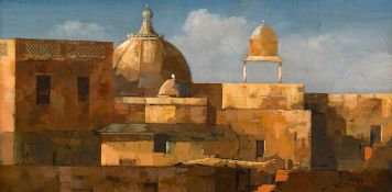 Martin Mooney (b.1960) UDAIPUR ROOFTOPS [INDIA] 1999 oil on board signed with initials and dated