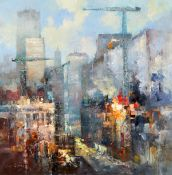 Colin Gibson (b.1948) THE CITY AT WORK, NEW YORK, 2020 oil on canvas signed lower left; signed,
