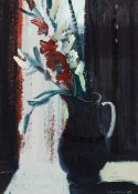 Brian Ballard RUA (b.1943) FLOWERS IN DARK JUG, 1988 oil on board signed and dated lower right;