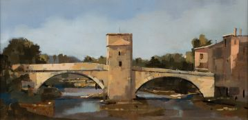 Martin Mooney (b.1960) BRIDGE IN FRANCE, 1998 oil on board signed with initials and dated lower