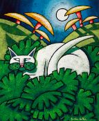 Jonathan Knuttel (b.1972) MOONLIT CAT acrylic on canvas; (unframed) signed lower right; with Waldock