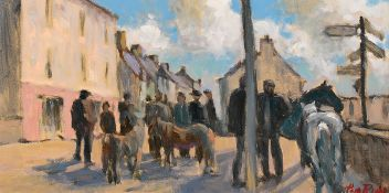 Tom Roche (b.1940) DINGLE HORSE FAIR, COUNTY KERRY oil on canvas signed lower right 10 by 20in. (
