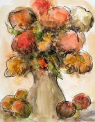 Gladys Maccabe MBE HRUA ROI FRSA (1918-2018) STILL LIFE WITH FLOWERS AND FRUIT watercolour signed