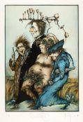 Gertrude Degenhardt (b.1940) WEINTRINKER [THE WINE DRINKER ] etching; (épreuve d'artiste from an