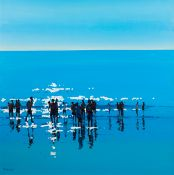 John Morris (b.1958) IN SHALLOW WATER oil on board signed lower left; signed and titled on reverse