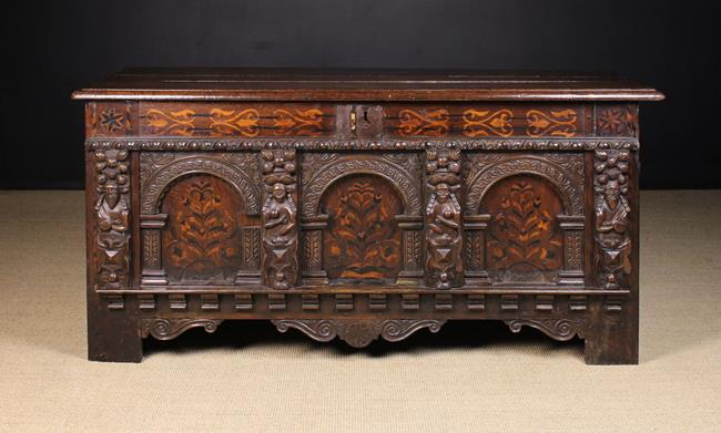 Lot 629 - An Early 17th Century Carved Oak & Marquetry Coffer.