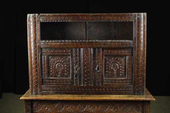 Lot 610 - A Fine Late 16th/Early 17th Century Oak Mural Cupboard of good colour & patination.