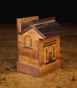 A 19th Century Treen Money Box in the form of a small brick-work building inlaid with marquetried