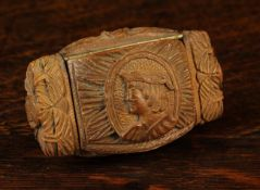 An 18th Century Carved Coquilla Nut Snuff Box.