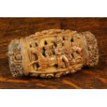 A Fine Quality 18th Century Coquilla Nut Snuff Box richly carved in high relief with intricately