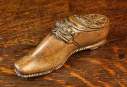 A 19th/Early 20th Century Carved Treen Shoe-shaped Snuff Box.