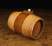 A Willow Bound Oak Spirit Flask of oval staved barrel form with inset oak ends,