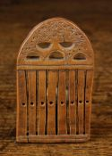 "A Small 18th/19th Century Boxwood Loom Comb, decorated with chip carving, 3¾"" x 2¼"" (9.5 cm x 5."