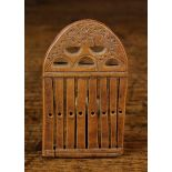 """A Small 18th/19th Century Boxwood Loom Comb, decorated with chip carving, 3¾"""" x 2¼"""" (9.5 cm x 5."""