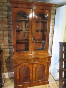 A Victorian mahogany 2-door glazed bookcase over cupboard with a drawer, 202cm tall x 92cm x 49cm,