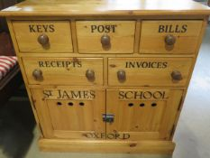 A good quality pine chest with five drawers over two cupboard doors, 78cm wide x 80cm high.