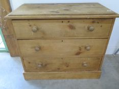 A 19th century pine 3 drawer chest of drawers, 96cm wide x 82cm high
