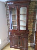 A Victorian mahogany glazed 2-door bookcase over cupboard with a drawer, 211cm tall x 90cm x 42cm,