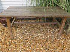 A garden potting table, 160cm wide x 76 x 76cm high