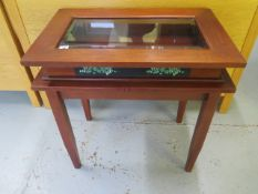 A modern mahogany bijouterie display table 70cm tall x 70cm x 46cm, in good condition