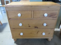 A 19th century pine chest with two short over two long drawers, 90cm wide x 86cm high