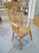 A Victorian style beechwood grandfather chair, 115cm tall