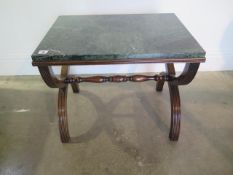 A Regency style green marble top mahogany cross frame stand in sturdy condition, marble good, 46cm