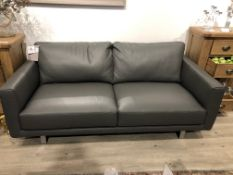 An ex display Italia Living Linea leather sofa in grey, 190cm, RRP £1,499