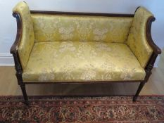 An Edwardian mahogany window seat in good condition and recently reupholstered, 80cm tall x 110cm