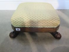 A 19th century rosewood footstool recently reupholstered, 16cm tall x 42cm x 42cm