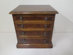 A small walnut four drawer / trinket chest, made by a local craftsman to a high standard, 26cm